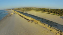 Aerial view of the aqueduct in caesarea, israel Stock Footage