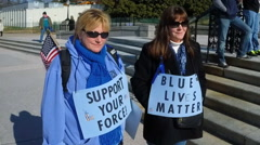 "Law enforcement supporters attend the ""Sea of Blue"" rally in Washington, DC. - stock footage"