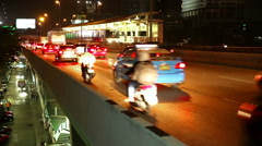 Bangkok elevated over pass traffic time-lapse with train Stock Footage