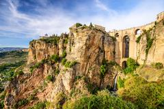 ronda, spain at puento nuevo bridge - stock photo