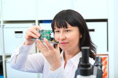 development of an electronic micro processor - stock photo