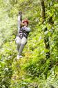 Stock Photo of Adult Tourist Wearing Casual Clothing On Zip Line Trip Tungurahua Province
