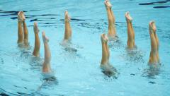 Swimming Pool Women's Team Synchronized Dance Legs 1 - stock footage