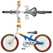 A top and side view of a bicycle - stock illustration