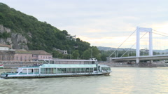 Budapest From River And Bridges Stock Footage