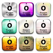 A periodic table button showing Oxygen Stock Illustration
