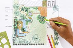 Landscape architect design water garden plans for backyard Stock Photos