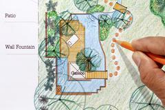 landscape architect design water garden plans for backyard - stock photo