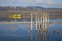 Dredging boats in the columbia river. Stock Photos