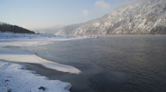 River Yenisei Winter Day View - stock footage