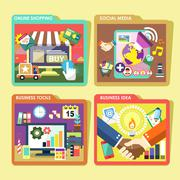 Mobile device and business  icons set in flat design Stock Illustration