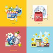 Flat design for e-commerce, online shopping, sale, finance, analytics Piirros