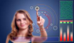 woman press key in virtual abstract hi tech background - stock illustration
