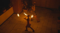 A couple fire dance 5 Stock Footage