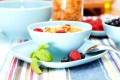 Cornflakes and berries Stock Photos