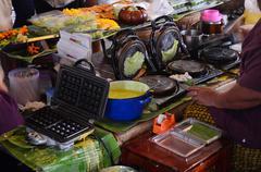 "Cooking Thai Snack Soft Thai rice flour pancake roll or ""Thong Muan Sod"" Stock Photos"