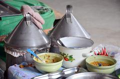 Cooking Thai Dessert:  steamed rice-skin dumplings and tapioca pork Stock Photos