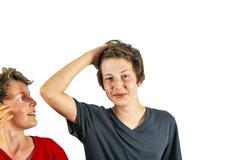 happy boy tearing ones hair - stock photo