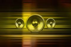 music speakers with gold light streaks - stock illustration