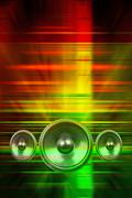 music speakers and party lights - stock illustration