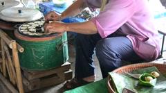 Kind of Thai sweetmeat Kanom Krok use rice flour and coconut milk based - stock footage
