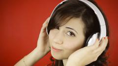 Stock Video Footage of Music woman red headphones glance copyspace
