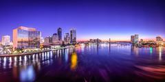 jacksonville, florida, usa city skyline panorama on st. johns river at dawn. - stock photo