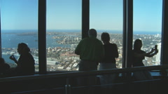 Tourists enjoy view from Sydney Observation tower Stock Footage