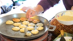 Kanom Babin Thai dessert style pancake made from coconut, Stock Footage