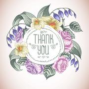 Stock Illustration of Vintage Greeting Card with Blooming Flowers