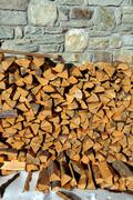 cut wood with ax - stock photo