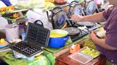 "Cooking Thai Snack Soft Thai rice flour pancake roll or ""Thong Muan Sod"" Stock Footage"