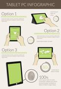 Infographic visualization of usability tablet pc - stock illustration