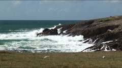 Wild Atlantic coast in Brittany Stock Footage