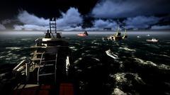 Oil rig  platform - stock illustration
