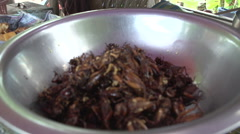Mandalay, fried grasshoppers in bowl Stock Footage