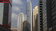 Pan up and down of buildings in Hong Kong Stock Footage