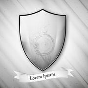 Spartan image. Metal shield on dirty gray background. Vector format - stock illustration