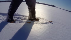 Snowshoeing on Lake - Winter in the North 5 - stock footage
