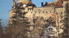 HD, Dracula castle. Close view. Halloween. Medieval castle, Carpathian mountains Stock Footage
