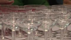 Wine glasses at cocktail party - stock footage
