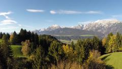 Mountain Panorama with Trees in Autumn - Aerial Flight Stock Footage