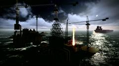 Oil rig  platform Stock Footage