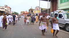 People walking the street at Rameswaram in Tamil Nadu, India Stock Footage