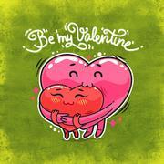 Hugging Valentine Hearts Stock Illustration