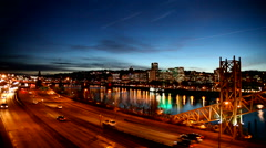 Panning Movie of City of Portland Oregon with Peak Hour Freeway Traffic at Night Stock Footage