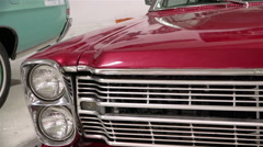 The front part of an old retro car headlights, grille, hood Gmina Krypno plan HD Stock Footage