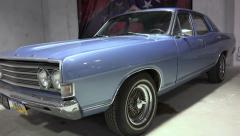 Ford Fairlane 500 1969 year. Full face and profile retro vintage car Stock Footage