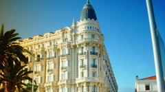 View of Luxury InterContinental Carlton Cannes Hotel from the street Stock Footage