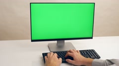 Hands typing keyboard. Green screen PC. Ultra HD, 4K - stock footage